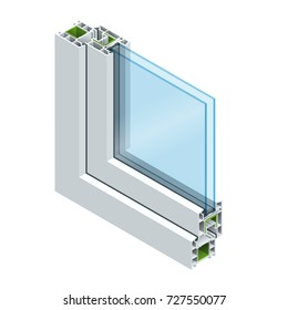 Isometric Cross-section diagram of a double glazed window pane PVC profile laminated wood grain, classic white. Flat vector illustration
