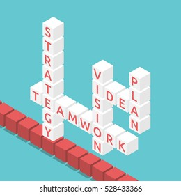 Isometric crossword cubes with words strategy, teamwork, vision, idea and plan on turquoise blue background. Flat design. EPS 8 vector illustration, no transparency