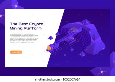 Isometric crypto mining concept web banner. Concept of cryptocurrency mining. Vector Illustration with digital technology field with vehicles.