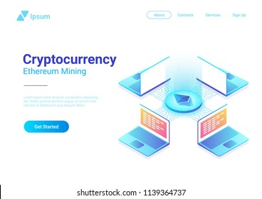 Isometric Cryptocurrency Etherium Trading platform market vector illustration. Laptops Notebooks using Blockchain technology.
