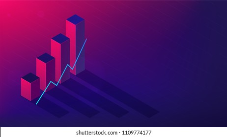 Isometric cryptocurrency exchange trading concept. Trading strategy, platform, cryptocurrency wallet, marketshare, volumes and index on ultra violet background. Vector 3d isometric illustration.