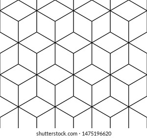 Isometric cube black line seamless pattern on white background.