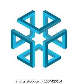 Isometric cube figure. Impossible shape. 3D cube. Blue infinite box figure. Abstract geometric object. Hypercube. Impossible endless rectangle. Isometric geometry symbol on white background. Vector.