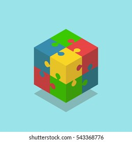 Isometric cube of four joined puzzle pieces of various colors isolated on white. Teamwork, cooperation and solution concept. Flat design. Vector illustration. EPS 8, no transparency