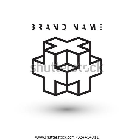 isometric cube logo design template vector stock vector royalty