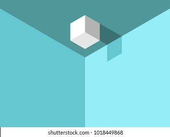 Isometric cube with shadow on ceiling in turquoise blue room. Weirdness and chaos concept. Flat design. Vector illustration, no transparency, no gradients