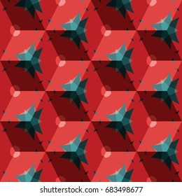 Isometric cube with a surface covered with geometric ornaments. Completely seamless, colorful cube pattern background. Optical illusion. Ornament with three-dimensional effect.