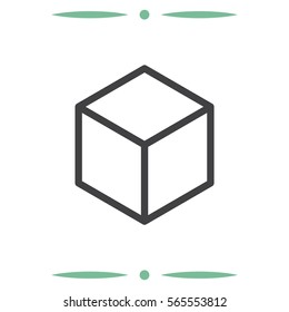 Isometric cube vector icon. 3D square sign. Box symbol