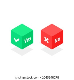 isometric cube with yes or no marks. concept of approve or reject and simple test poll for web. flat 3d style trend modern set mobile app logotype graphic website design isolated on white background