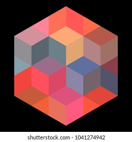 Isometric cubes in hexagonal frame