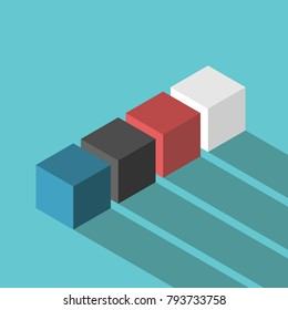Isometric cubes of various colors on turquoise blue background with long shadow. Variety, diversity, team work and choice concept. Flat design. EPS 8 vector illustration, no transparency, no gradients