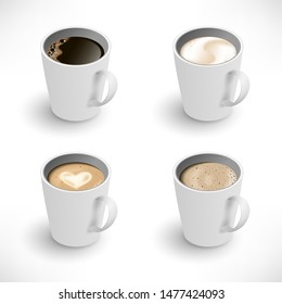 Isometric Cups of coffee assortment set. Black coffee, cappuccino, latte, espresso, macchiatto, mocha top view. Easy to edit realistic vector collection. 3d model americano white cup isolated on white