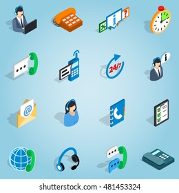 Isometric customer set icons. Universal customer icons to use for web and mobile UI, set of basic call service contact telephone elements vector illustration