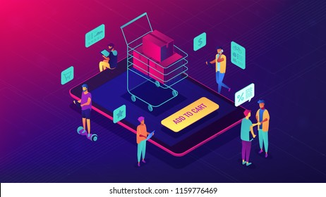 Isometric customers purchasing with tablets and shopping cart with boxes. Online store, e-commerce, online website purchase concept. Ultra violet background. Vector 3d isometric illustration.