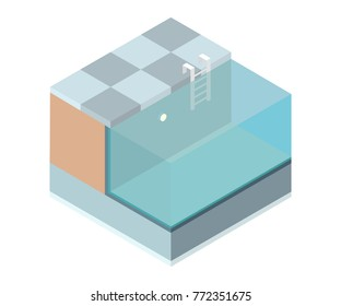 Isometric cutaway swimming pool on white background. Vector illustration.
