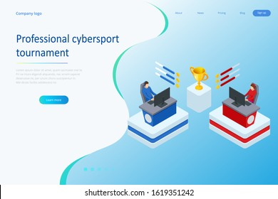 Isometric Cybersports competition. Cybersport arena with gamers. Online game tournament in player vs player format. Cybersport competition with winner cup.