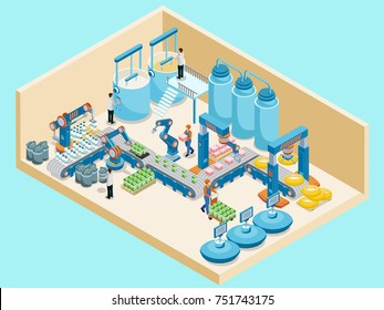 Isometric dairy plant template with workers automated production line containers for milk products manufacturing isolated vector illustration