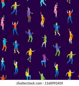 Isometric Dancing People Characters Seamless Pattern Background Music Party, Disco. Vector illustration of Dancers Persons
