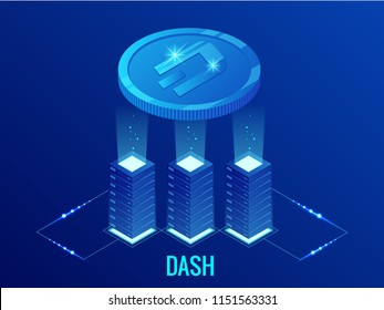 Isometric DASH Cryptocurrency mining farm. Blockchain technology, cryptocurrency and a digital payment network for financial transactions. Abstract blue background.