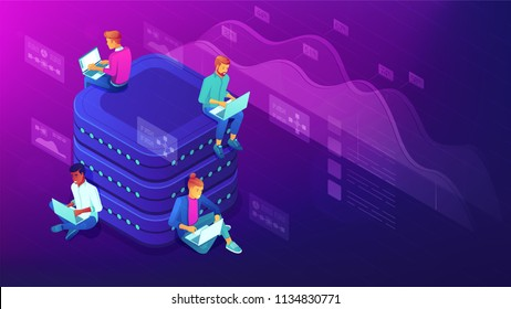 Isometric data analyst team working on laptops near the big database. Big data analysis, market trends needs research examining data sets vector 3D isometric illustration on ultraviolet background.