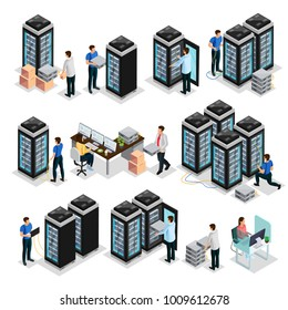 Isometric data center collection with engineers repair and  maintain hosting servers equipment isolated vector illustration