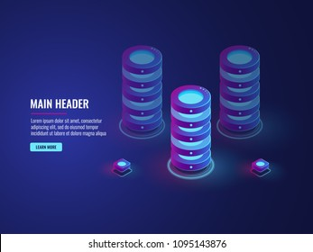 isometric database cloud storage concept, server room icon, bigdata processing vector dark ultra violet neon