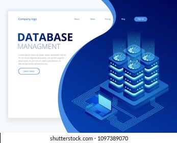 Isometric Database Network Management. Big Data processing, energy station of future. IT Technician Turning Server. Cloud service. Digital information. Vector illustration.
