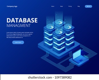 Isometric Database Network Management. Big Data processing, energy station of future. IT Technician Turning Server. Cloud service. Digital information. Vector illustration.