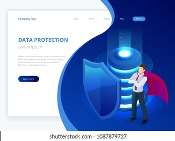 Isometric database protection concept. Server room rack, database security, shield server unit, computing digital technology. Internet equipment industry. Network telecommunication server.