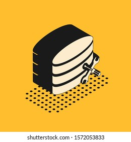 Isometric Database server with screwdriver and wrench icon isolated on yellow background. Adjusting, service, setting, maintenance, repair, fixing.  Vector Illustration