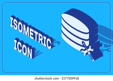 Isometric Database server with screwdriver and wrench icon isolated on blue background. Adjusting, service, setting, maintenance, repair, fixing.  Vector Illustration