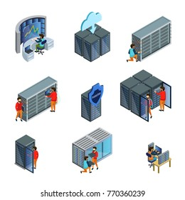 Isometric datacenter elements set with engineers repair service cloud server information and data security isolated vector illustration