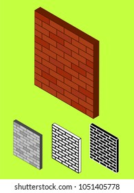 Isometric Decorative Brick Wall Different Colors Outline Mode