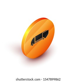 Isometric Delivery cargo truck with shield icon isolated on white background. Insurance concept. Security, safety, protection, protect concept. Orange circle button. Vector Illustration