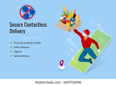 Isometric Delivery man or courier in a medical mask and gloves delivered delivering food to customer at home. Online purchases during a quarantine. Contactless or to the door delivery.