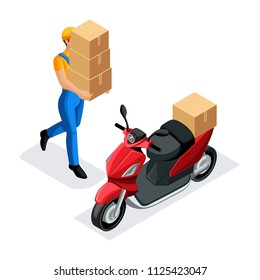 Isometric delivery service courier carries boxes to the scooter, fast delivery of orders, round the clock work, the courier bears the parcel.
