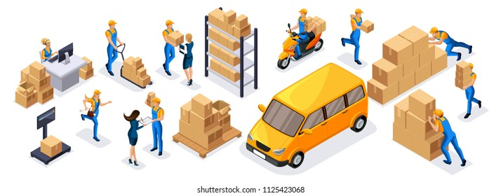 Isometric delivery service, couriers, warehouse workers, call center a large set of symbols and concepts to create their own drawings.