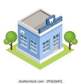 Isometric  dental clinic. Vector