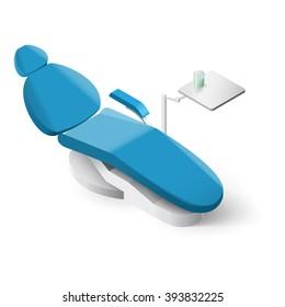 Isometric Dentist Chair on White Background for Design
