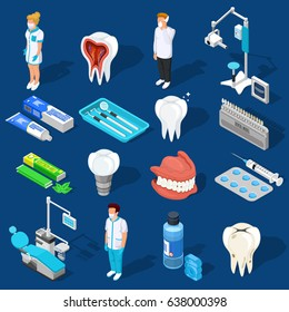 Isometric dentist icons collection with isolated medical personnel characters dental care supplies drilling machines and equipment vector illustration