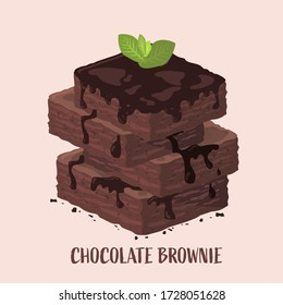 Isometric design of chocolate brownies stack with mint leaf