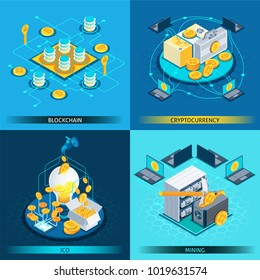Isometric design concept with cryptocurrency, blockchain, ico and mining isolated on blue background vector illustration
