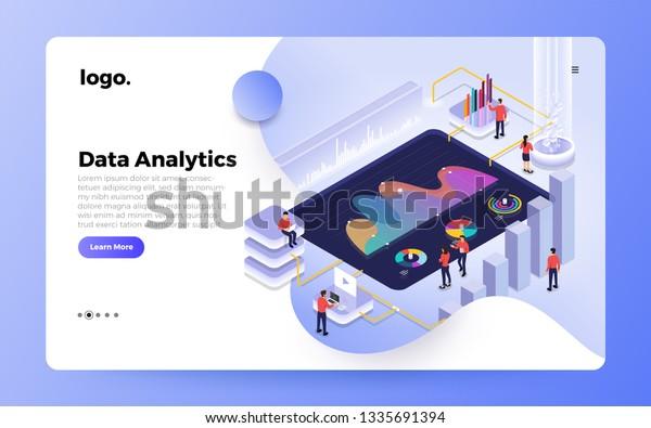 Isometric Design Concept People Interactive Working Stock Vector