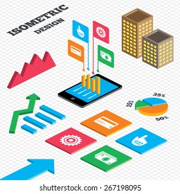 Isometric design. Graph and pie chart. ATM cash machine withdrawal icons. Insert bank card, click here and check PIN, processing and get cash symbols. Tall city buildings with windows. Vector