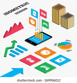 Isometric design. Graph and pie chart. Bowling and Casino icons. Video game joystick and playing card with dice symbols. Entertainment signs. Tall city buildings with windows. Vector