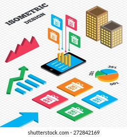 Isometric design. Graph and pie chart. Sale gift box tag icons. Discount special offer symbols. 30%, 50%, 70% and 90% percent off signs. Tall city buildings with windows. Vector