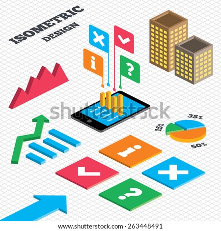 Isometric Design Graph Pie Chart Information Stock Vector Royalty