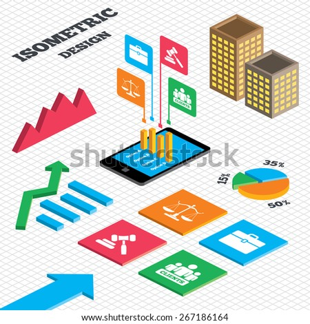 Isometric Design Graph Pie Chart Scales Stock Vector Royalty Free