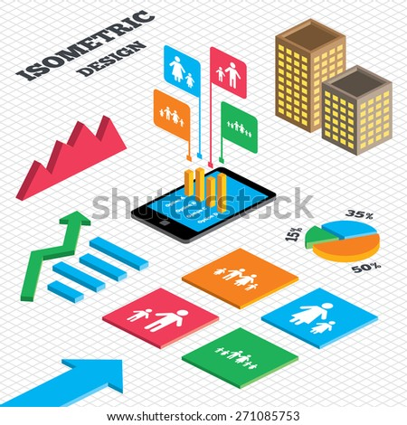 Isometric Design Graph Pie Chart Large Stock Vector Royalty Free