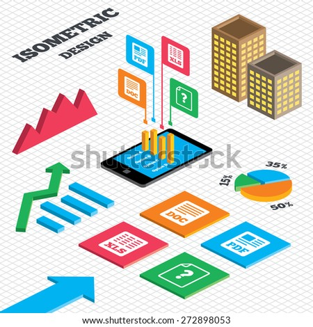 Isometric Design Graph Pie Chart File Stock Vector Royalty Free